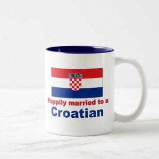 Happily Married To A Croatian Two-Tone Mug