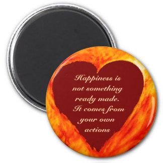 Happiness 6 Cm Round Magnet