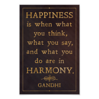 Happiness and harmony - Gandhi quote poster