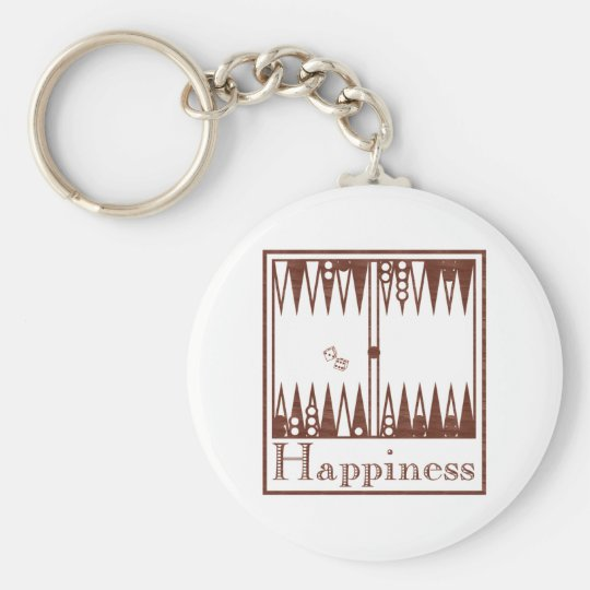 Happiness: Backgammon Basic Round Button Key Ring