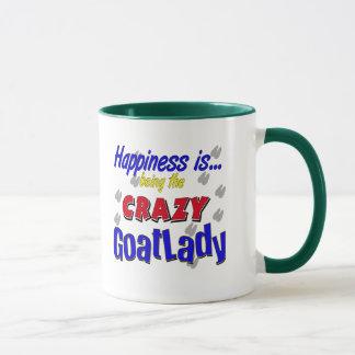 Happiness Crazy Goatlady Mugs