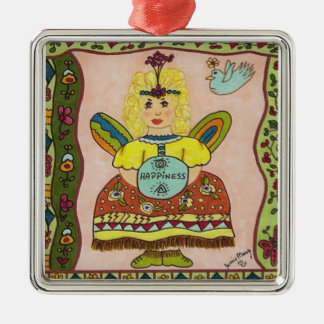 HAPPINESS Fairy Silver-Colored Square Decoration