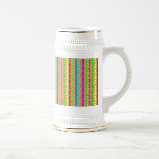 HAPPINESS in COLOR: Smiling Stripes on Golden Base Coffee Mugs