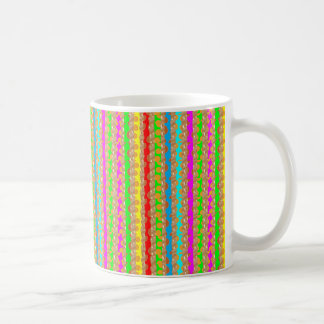 HAPPINESS in COLOR: Smiling Stripes on Golden Base Classic White Coffee Mug