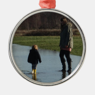 Happiness in yellow wellies christmas ornament