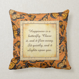 Happiness is a Butterfly: Monarch Butterfly Cushion