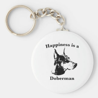 Happiness is a Doberman Basic Round Button Key Ring