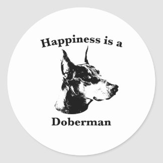 Happiness is a Doberman Round Sticker