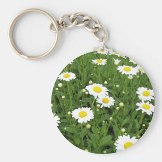 Happiness is a Field of Daisies Basic Round Button Key Ring