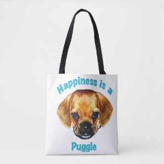 Happiness is a Puggle Tote Bag