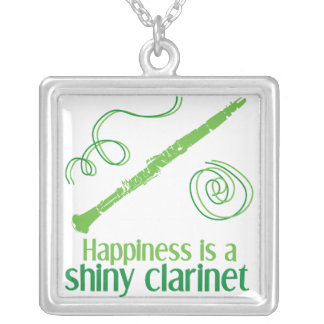 Happiness is a Shiny Clarinet Square Pendant Necklace
