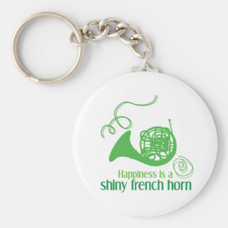 Happiness is a Shiny French Horn Basic Round Button Key Ring