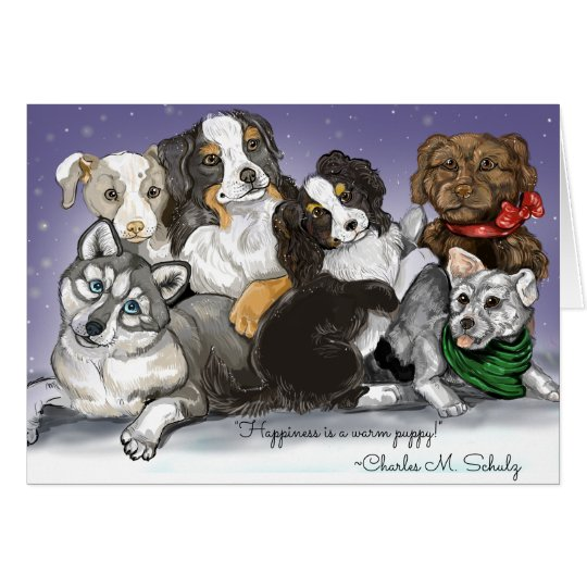 Happiness is a warm Puppy Christmas Card