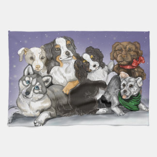 Happiness is a Warm Puppy Christmas Towel