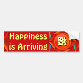 happiness is arriving bumper sticker