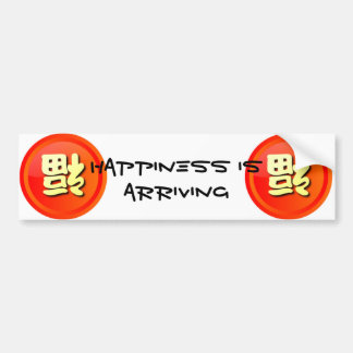"""""""Happiness Is Arriving"""" in Chinese Car Bumper Sticker"""