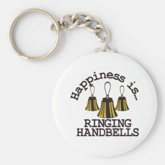 Happiness is… basic round button key ring