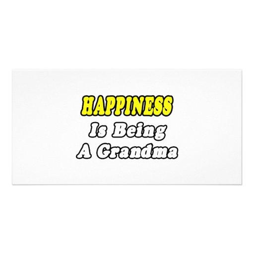 Happiness Is Being a Grandma Custom Photo Card