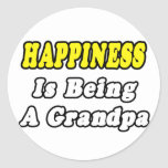 Happiness Is Being a Grandpa Round Stickers