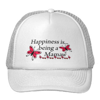 Happiness Is Being A Mamaw BUTTERFLY Mesh Hats