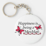 Happiness Is Being A MeeMaw BUTTERFLY Basic Round Button Key Ring