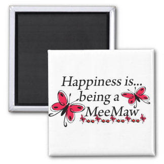 Happiness Is Being A MeeMaw BUTTERFLY Square Magnet