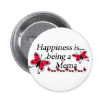 Happiness Is Being A Mema BUTTERFLY 6 Cm Round Badge