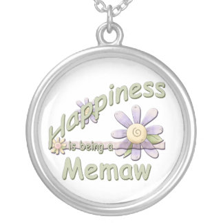 Happiness is being a Memaw Round Pendant Necklace