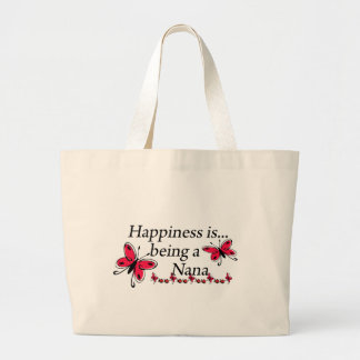 Happiness Is Being A Nana BUTTERFLY Large Tote Bag