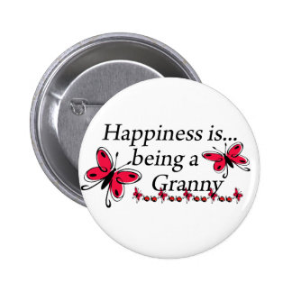Happiness Is Being An Granny BUTTERFLY 6 Cm Round Badge