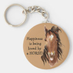 Happiness is being  loved by a HORSE! Humour Basic Round Button Key Ring