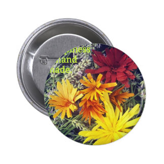 Happiness is handmade wooden flowers 6 cm round badge