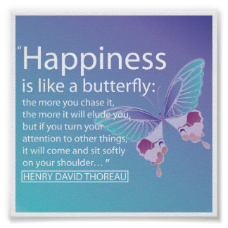'Happiness is like a butterfly' quote poster