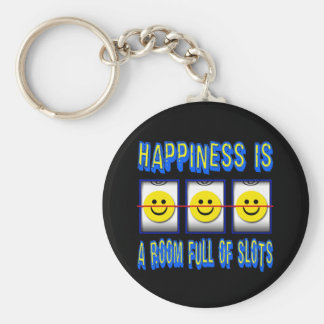 HAPPINESS IS ROOM FULL OF SLOTS BASIC ROUND BUTTON KEY RING