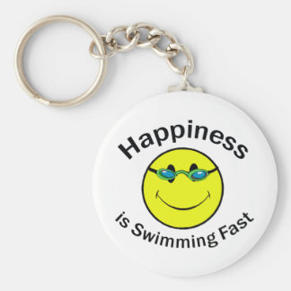 Happiness is Swimming Fast Basic Round Button Key Ring