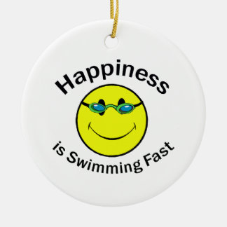 Happiness is Swimming Fast Christmas Ornament
