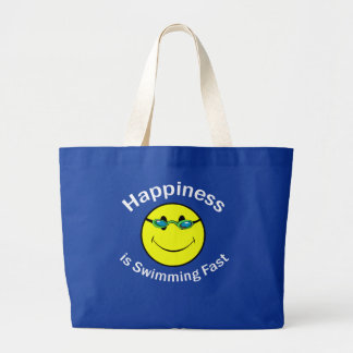 Happiness is Swimming Fast Large Tote Bag