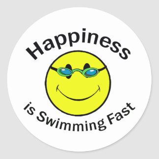 Happiness is Swimming Fast Round Sticker