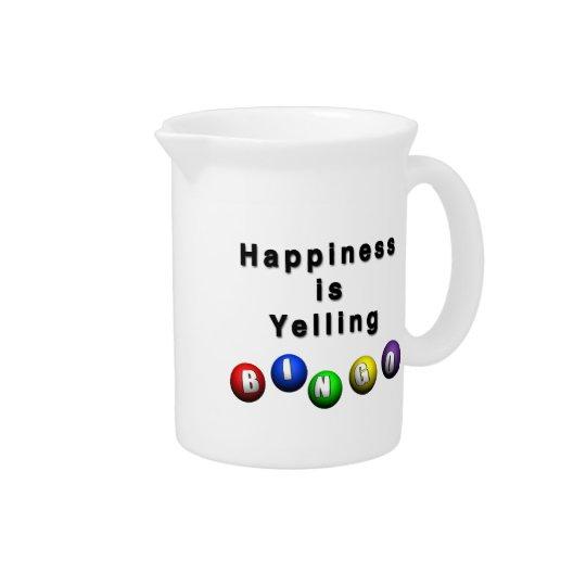 Happiness Is Yelling BINGO Beverage Pitcher