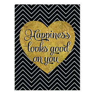 Happiness Looks Good Gold Heart Black Chevron Postcard