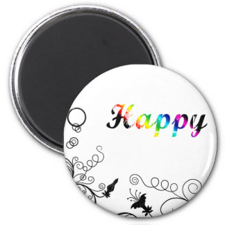 Happiness 6 Cm Round Magnet