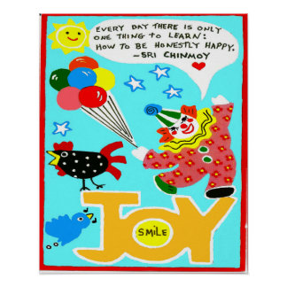Happiness poster with clown and balloons