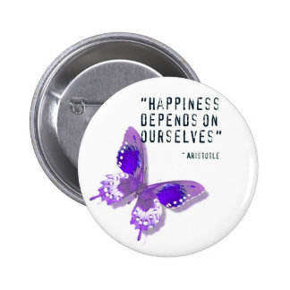 Happiness Purple Butterfly 6 Cm Round Badge