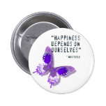 Happiness Purple Butterfly Button