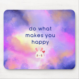 Happiness Quote with Surreal Clouds Abstract Mouse Mat