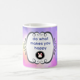 Happiness Quote with Surreal Clouds and a Bunny Coffee Mug