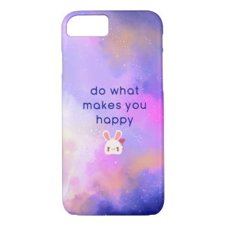Happiness Quote with Surreal Clouds and a Bunny iPhone 8/7 Case