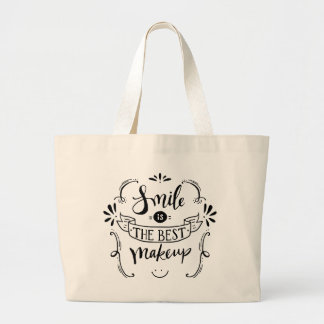 Happiness Smile Life Attitude Motivational Quote Large Tote Bag