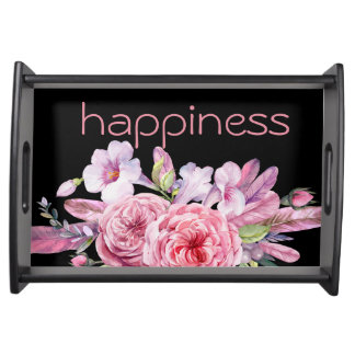 Happiness watercolors flowers serving tray