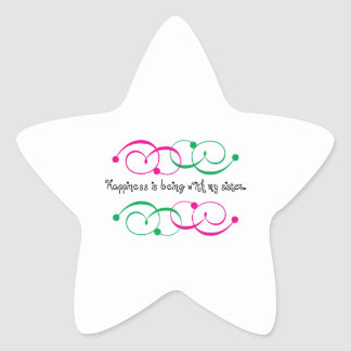 Happiness With Sister Star Sticker